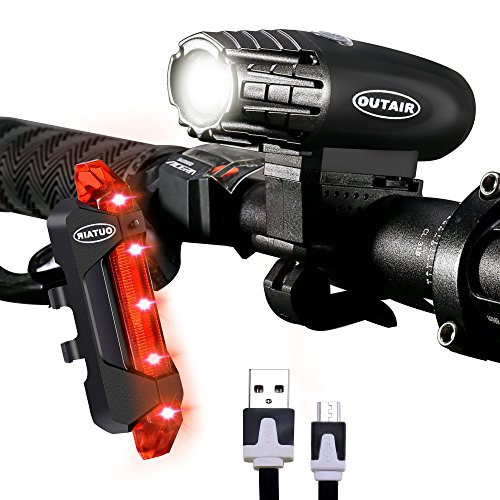 Outair USB Rechargeable Bike Light Set Powerful Lumens Bicycle Light Front And Rear For Kids Men Women Road Cycling Safety - Cycling Womens Kits