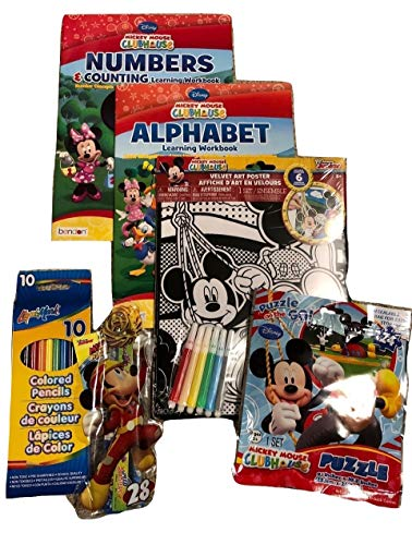 Arts and Crafts, Party Favors, Games For Kid's; Fun With Disney Jr. Mickey Mouse; Velvet Art Poster with Markers; Alphabet and Numbers Learning Workbooks; Colored Pencils; Pencil Set; Puzzle; 6pc