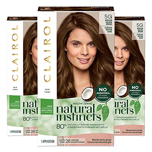 Clairol Natural Instincts, Pack of 3, 5G Medium Golden Brown
