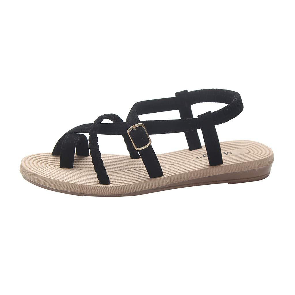 Lurryly Summer Womens Flat Bottom Roman Sandals Wild Cross Straps Clip Toe Beach Shoes