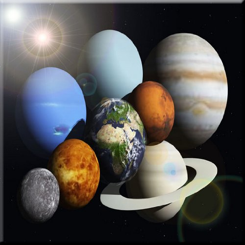 Rikki Knight Solar System Planets Design Ceramic Art Tile, 8'' x 8'' by Rikki Knight
