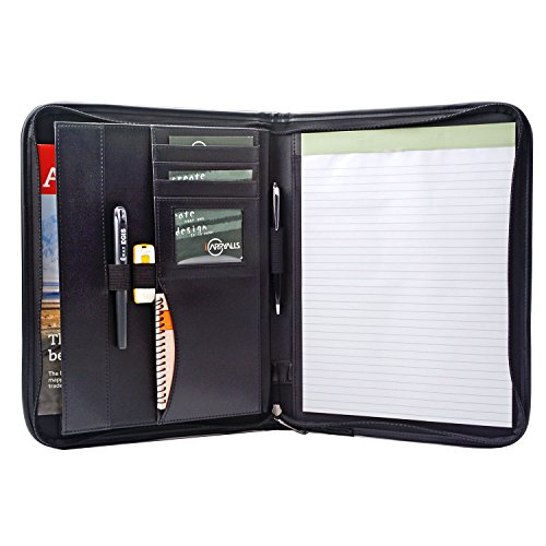 Zippered Padfolio Portfolio Case, Interview Resume Document Organizer, for Business Cards, Document, Includes Notepad