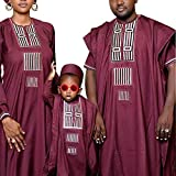 African Family Matching Outfits Clothes 3 Pieces Agbada Robe Daddy and Me Clothing for Man, Red L