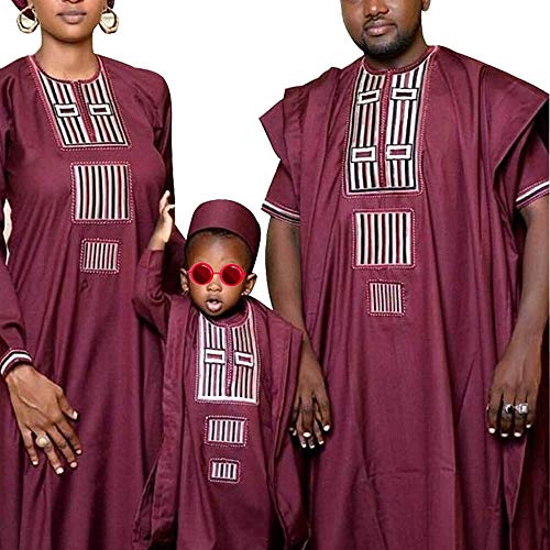 African Family Matching Outfits 3 Pieces Boy Agbada Robe Parent-Child Clothes Set for Kids, Red 2XL