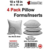 "Pillow Inserts - Polyester Filled - Regular Shell, 18x18"" (Quad Pack)"