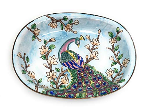 Kelvin Chen Colorful Peacock Catchall Caddy Vanity Tray, Enameled Soap Dish 5 Inches -