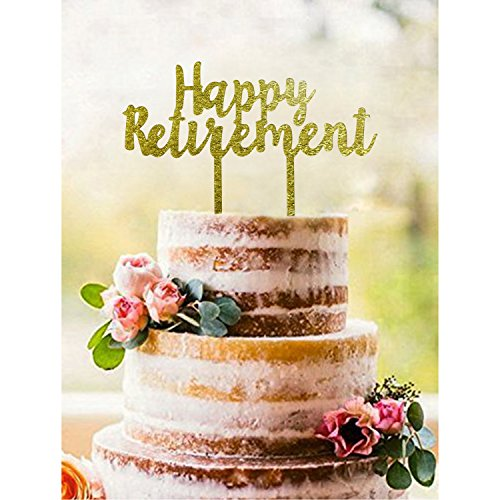 Gold HAPPY RETIREMENT Acrylic Cake Topper - Retirement Party Supplies Favors, Gifts and Decorations by Partyprops