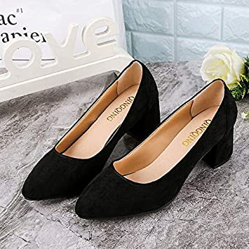 000346fe430 ZHZNVX Women s Shoes Suede Summer Basic Pump Heels Chunky Heel Pointed Toe  Feather Black Pink