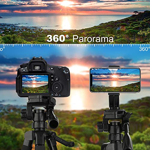 Tripod, Camera Tripod 59'' Portable Phone Tripod with Phone Holder, Video Tripod Compatible for Canon Nikon Sony Olympus DV, 360 Panorama, 2.69Lb Lightweight Aluminum Alloy with Travel Bag, 11Lb Load by MACTREM (Image #4)