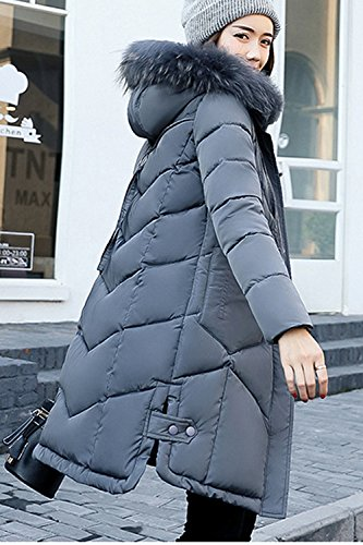 Mujer DeepGrey Sevozimda Acolchado Parkas Largo Peluda La Outwear Capucha Invierno Casual El con RRqUC5