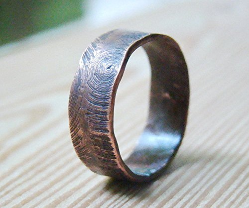 Mens Copper Oxidized Ring Wood Engraved Personalized Texture Band Wedding Band Rustic Mens Band Unisex ring