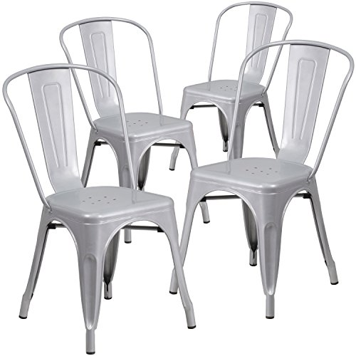 Flash Furniture 4 Pk. Silver Metal Indoor-Outdoor Stackable Chair ()