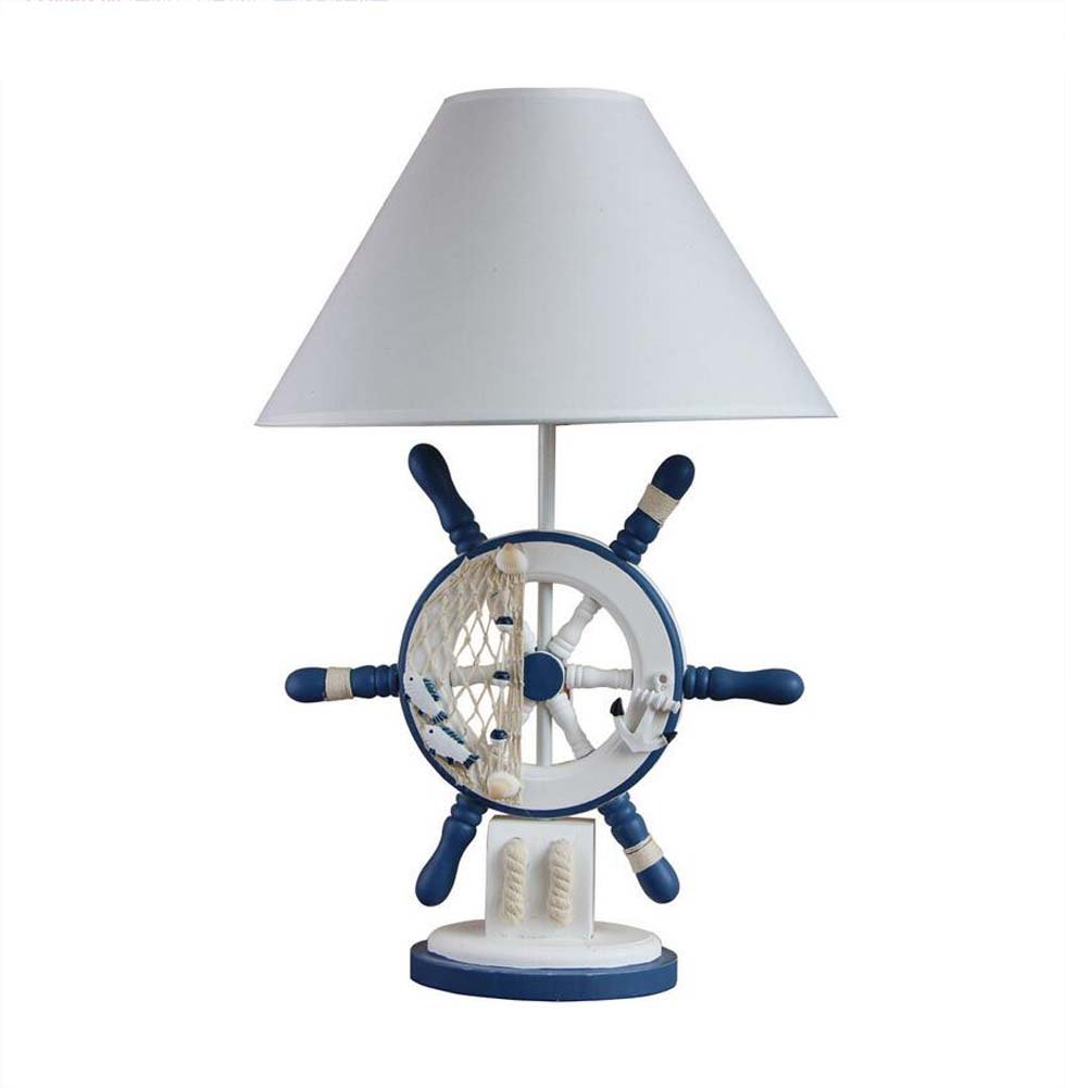 GAOLIQIN Children's Room Desk Lamp, LED Eye-Care Table Lamp Mediterranean Wooden Table Lights, Bedroom/Bedside/Living Room/Studyroom Decorative Table Lamps E27, 353554cm
