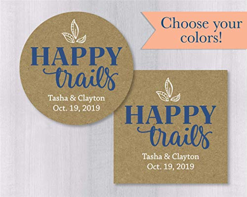 Happy Trails Stickers, Kraft Thank You Stickers, Printed Stickers, Wedding Favor Thank You Labels (#459-1-KR)