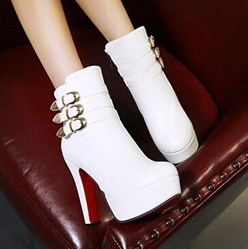 Chunky Heel High Round Solid White Ankle Zipper Easemax Womens Boots Platform Trendy Toe 8Yw6O