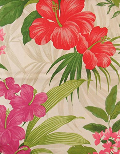 Summer Fun by Elrene Red and Red/Purple Hibiscus and Tropical Pink Flowers with Zipper Umbrella Hole Vinyl Flannel Back Tablecloth (60