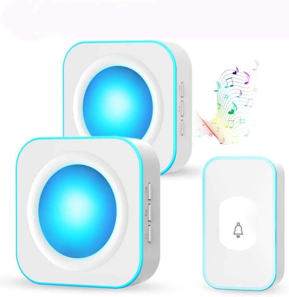 Wireless Door Bell, IP55 Waterproof Doorbell Operating at 1000 Feet, Colourful LED Indicators Door Chime Kit with Two Plug-in Receivers, 36 Chimes, 4 Volume Levels, Touch Button Doorbell for Home