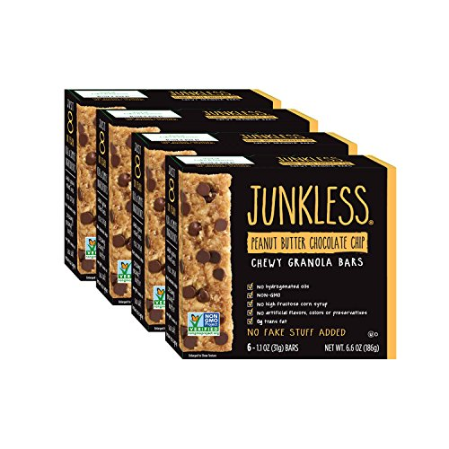 Junkless Chewy Granola Bars, Peanut Butter Chocolate Chip, 1.1 oz., 6 Bars (4 Count), Non-GMO, low sugar, great tasting