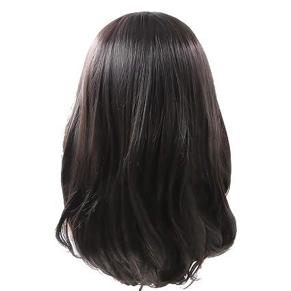 Rabbitgoo® Pelucas Cabello Natural para Adultos Pelucas con Color Negro de Alta Calidad Estilo de