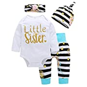 4Pcs Baby Girls Clothes Little Sister Long Sleeve Romper+Striped Long Pants+Hat (0-6 Months, White Stripe)