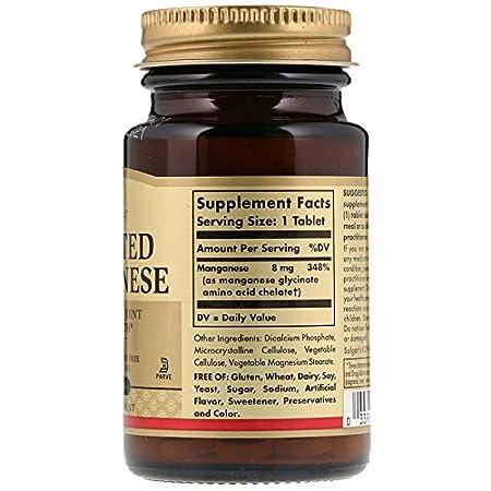 Solgar Chelated Manganese - 100 Tabletas: Amazon.es: Salud y cuidado personal