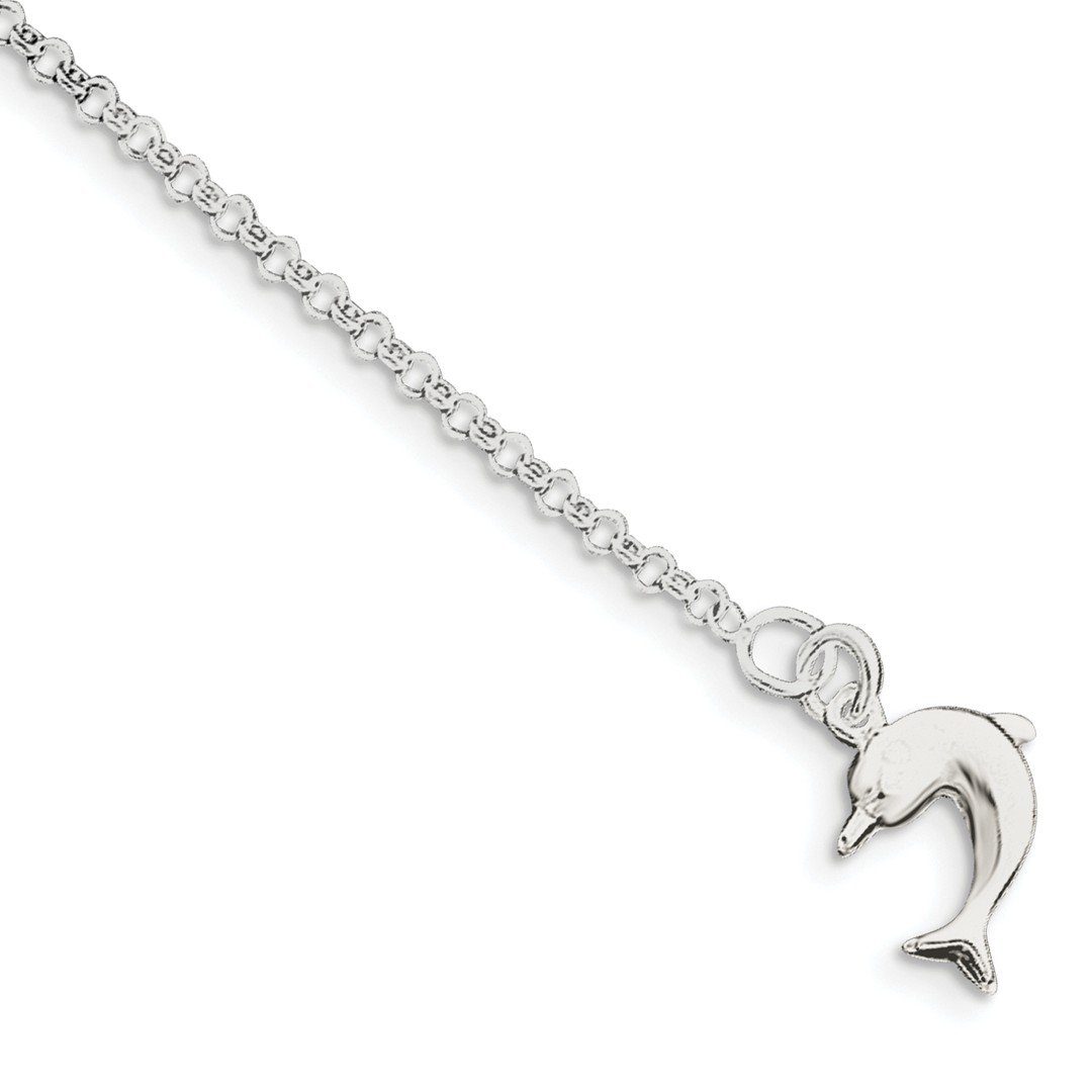Cyber Monday Deals - 925 Sterling Silver 10 Inch 3 Dimensional Dolphin Anklet Ankle Beach Chain Bracelet Fine Jewelry For Women Gift Set ICE CARATS IceCarats 8256315633175526598