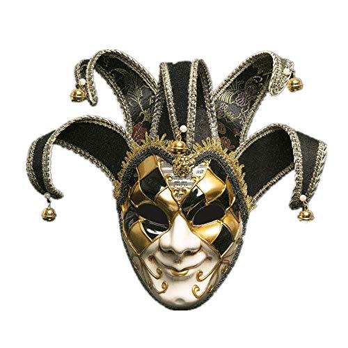 Full Face Venetian Jolly Jester Mask Masquerade Halloween Christmas Party (Black)