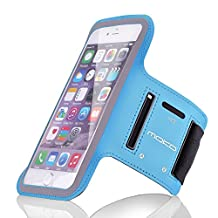 MoKo Sport Armband for Cellphone up to 6.0 Inch - Compatible with Droid Turbo 2 / iPhone 6s Plus / ASUS Zenfone 2 / Nexus 6P / Galaxy S7 / Galaxy S7 Edge, Key Holder, Card Slot, Sweat-proof,Light BLUE