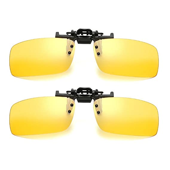 6d6adff6c9e 2 Pairs Unisex Sunglasses Clip On Night Vision Polarized Yellow Lenses Glasses  Anti-glare UV400 Driving Fishing Shooting Hunting Skiing Outdoor Sports ...