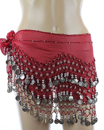 Belly Dance Hip Scarf, Belly Dancing Skirt Coin Sash Costume with Silver Coins (Burgundy) (Red Belly Dancing Costume)