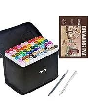 Marker do rysowania. pióro do szkicowania, zestaw markerów z podwójną końcówką dla artysty, markery graficzne, manga, zestaw markerów z podkładką A5 (60 kolorów)