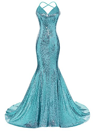 DYS Women's Sequins Mermaid Prom Dress Spaghetti Straps V Neck Backless Gowns Turquoise US 6