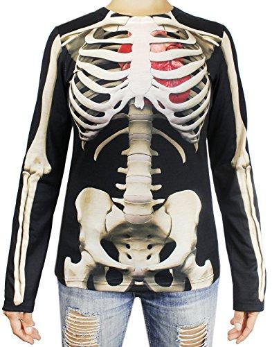 Womens Skeleton Costumes Tshirt (Women's Skeleton T- Shirt - Long Sleeve Printed Shirt - Medium)