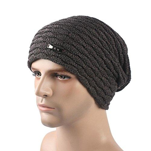 [EKIMI Women Men Winter Thicken Knit Ski Metal Signs Hat Cap Beanie (Dark Gray)] (Hip Hop Felt Hat With Feather)