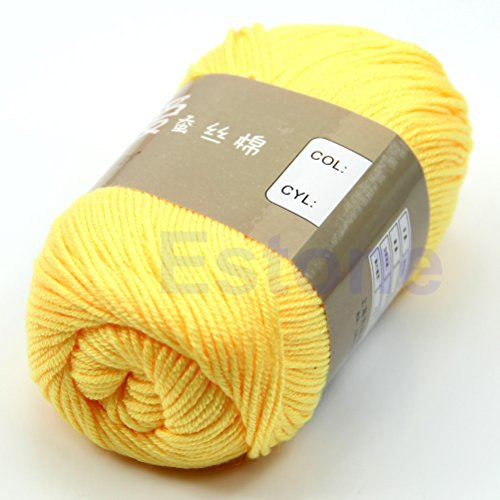 MEXUD-Bamboo Baby Soft Yarn Crochet Cotton Knitting Milk Cotton Yarn Knitting Wool Thick Yarn for Scarf Sweater (Litght Yellow)