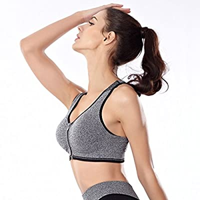 251dd5ccadd Women s Zip Front Racerback Sports Bra HENWS High Impact Full Support for  Workout Fitness