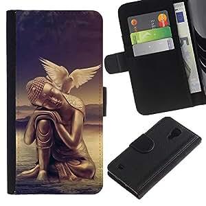 Planetar® Modelo colorido cuero carpeta tirón caso cubierta piel Holster Funda protección Para SAMSUNG Galaxy S4 IV / i9500 / SGH-i337 ( Peace of mind Buddha Dove )
