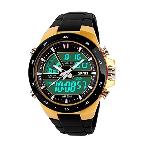 YIJIA Mens and Boys Analog Quartz Dual Time Electronic Digital Outdoor Sport Wrist Watches Waterproof LED Back Light 50M Water Resistant Calendar Chronograph (A01) by Y&J