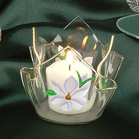 -5939 Hand Painted Magnolia Votive Candleholder Decorative Candle Holder ()