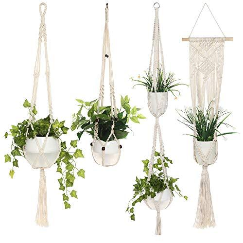 Akarden Macrame Plant Hanger, 4 Pack Indoor/Outdoor Hanging Plant Holder, Hand Make Wall Hanging Planter,Modern Boho Decor