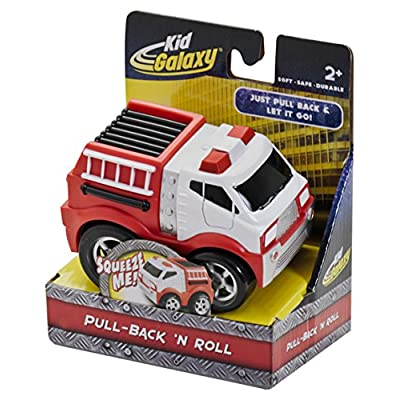 Kid Galaxy Squeezable Pull Back Fire Truck. Toddler Wind Up Toy Kids Age 2 and Up: Toys & Games