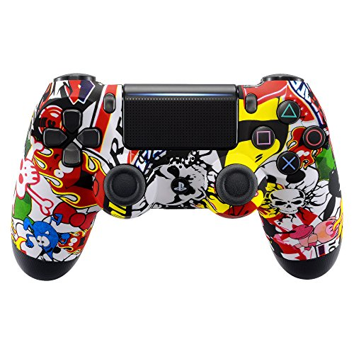 eXtremeRate Sticker Bomb Soft Touch Grip Front Housing Shell Faceplate for Playstation 4 PS4 Slim PS4 Pro Controller (JDM-040) (Flame Design Faceplate Cover Accessory)