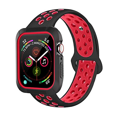 BRG Compatible with Apple Watch Band 38mm 42mm with Case, Shock-Proof Protective Case with Silicone Strap Replacement for iWatch Series 3,Series 2,Series 1