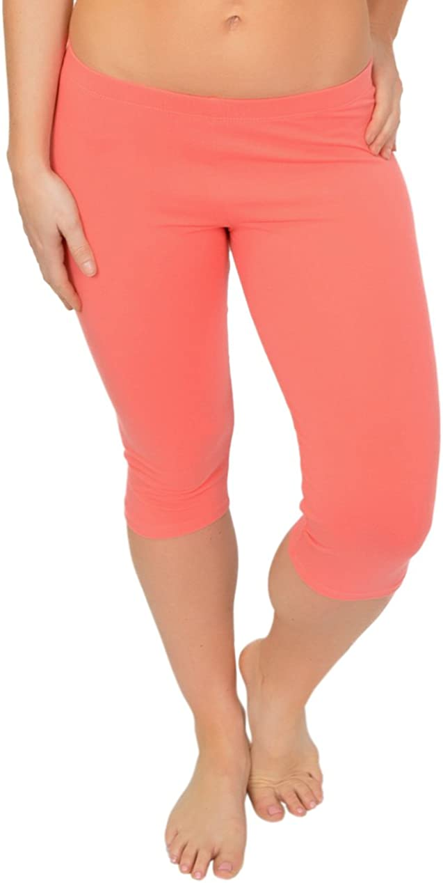 5X Adult Womens and Girl/'s Knee-Length Leggings Stretchy Leggings Cotton Spandex XS Child