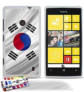 Carcasa flexible Ultrafina Blanca Original de MUZZANO estampada Corea del Sur Bandera para NOKIA LUMIA 520 + 3 películas de protección UltraClear para la pantalla