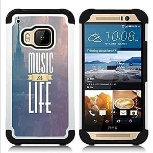 """Pulsar ( La música es vida New York Text púrpura Niebla"""" ) HTC One M9 /M9s / One Hima híbrida Heavy Duty Impact pesado deber de protección a los choques caso Carcasa de parachoques"""