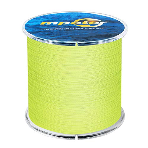 mpeter Armor Braided Fishing Line, Abrasion Resistant Braided Lines, High Sensitivity and Zero Stretch, 4 Strands to 8 Strands with Smaller Diameter,Yellow,327-Yard/30LB