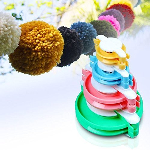 Cisixin Set da 4 Pezzi Pom Maker Strumento per Creare pompon