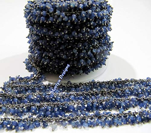 3 Feet Quality Sapphire Beaded Chain Rondelle Faceted Blue Sapphire Beads 3mm Wire Wrap Dangling Chain Black Plated Rosary Chain Sold by LadoNarayani