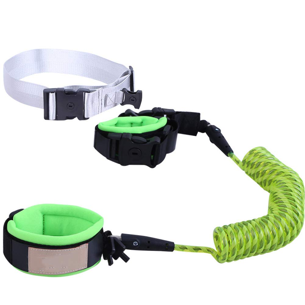 MQC Baby Loss Wrist Strap Toddler Strap, Rotating and Stretching Wrist Strap Set Set for Kids Belt Harness and Reins,Green,2m
